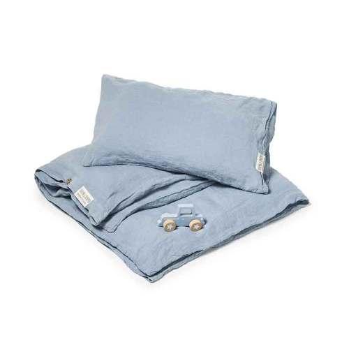 Blauw linnen kinderdekbedovertrek Morning Blue - Casa Homefashion