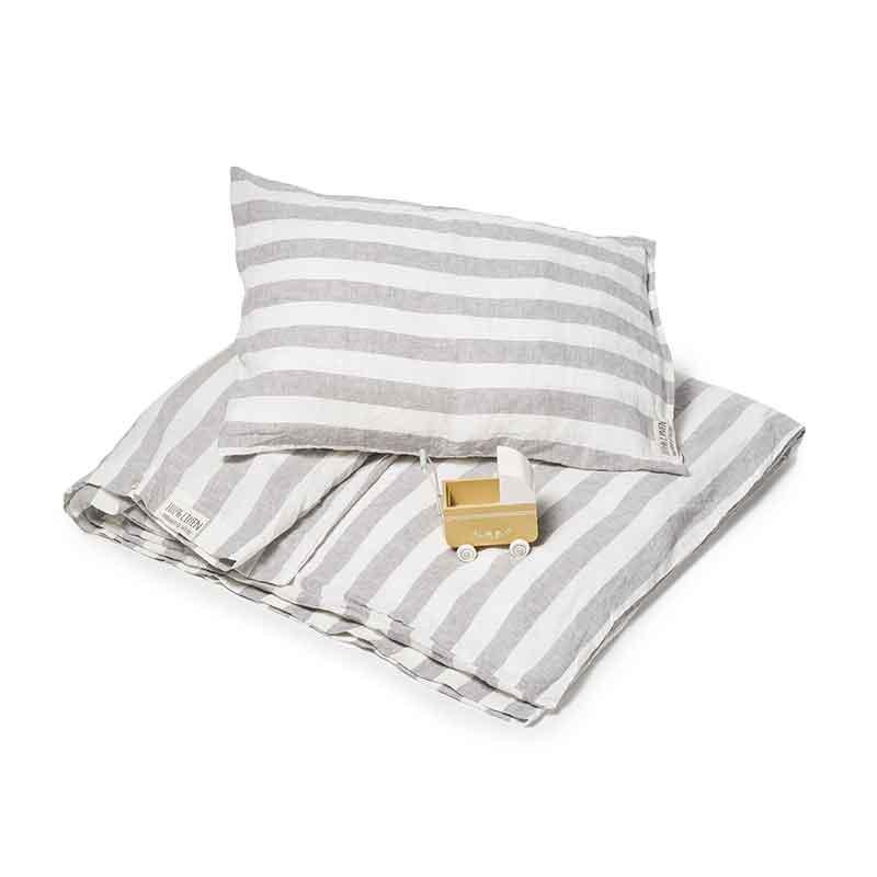 Gestreept linnen baby dekbedovertrek Stripe Dove Grey voor ledikant - Casa Comodo