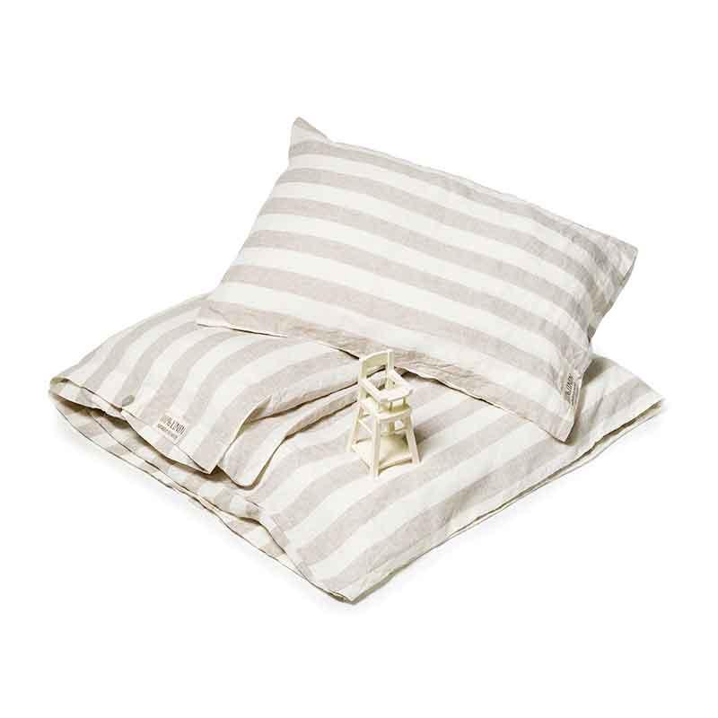 Zandkleurig breed gestreept linnen baby dekbedovertrek - Casa Homefashion