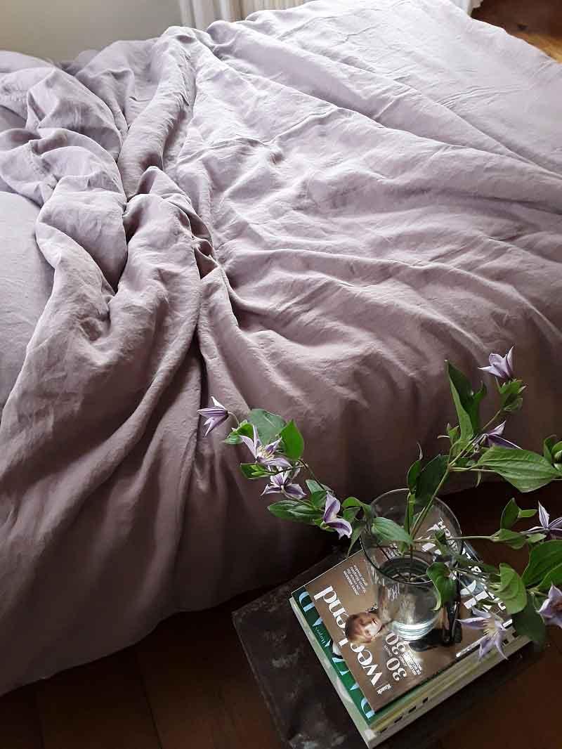 Oud roze of lavendel linnen dekbedovertrek Vintage Rose - merk Casa Homefashion - online te koop bij Casa Comodo