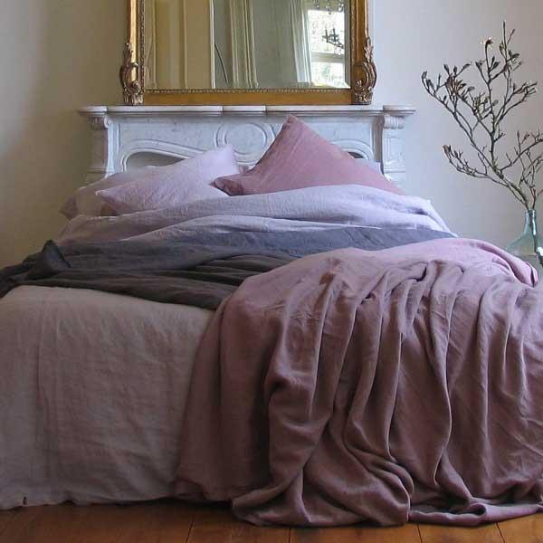 Linnen dekbedovertrek Vintage Rose - oud roze - online te koop bij Casa Comodo