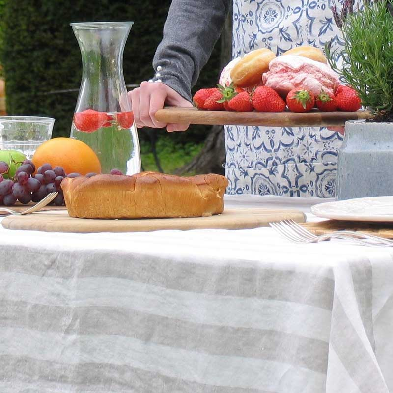 linen tablecloth striped natural - white, brand Casa Homefashion, for sale online Casa Comodo