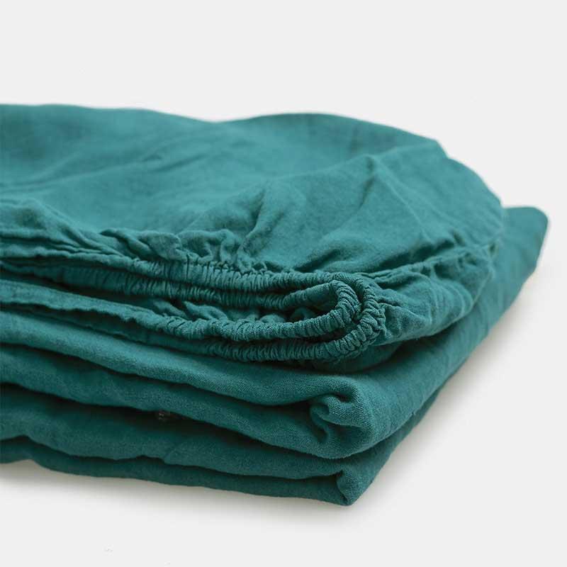 Linnen hoeslaken - onderlaken blauwgroen