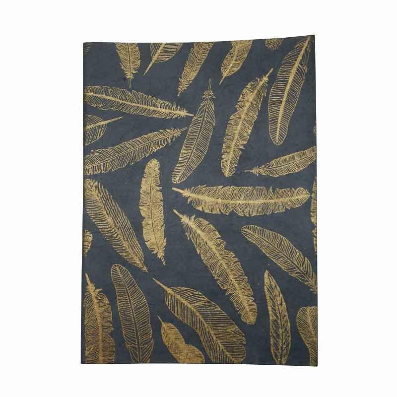 a6 notitieboekje Return to sender blauw met gouden veerjtes