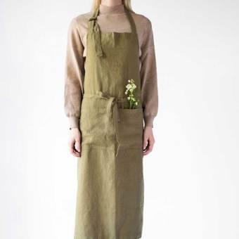 linnen schort olijfgroen