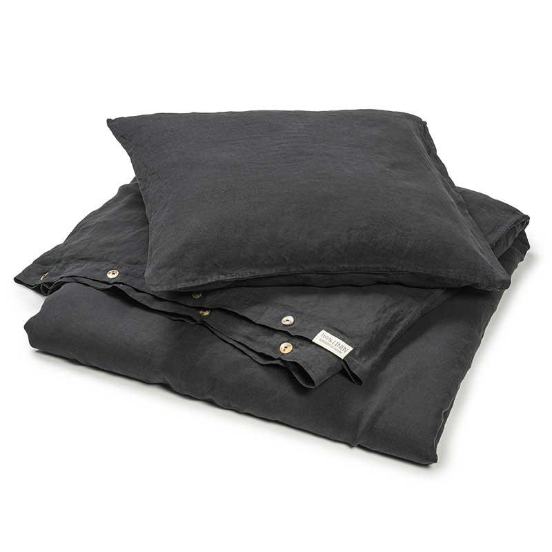 Linen duvet cover black -