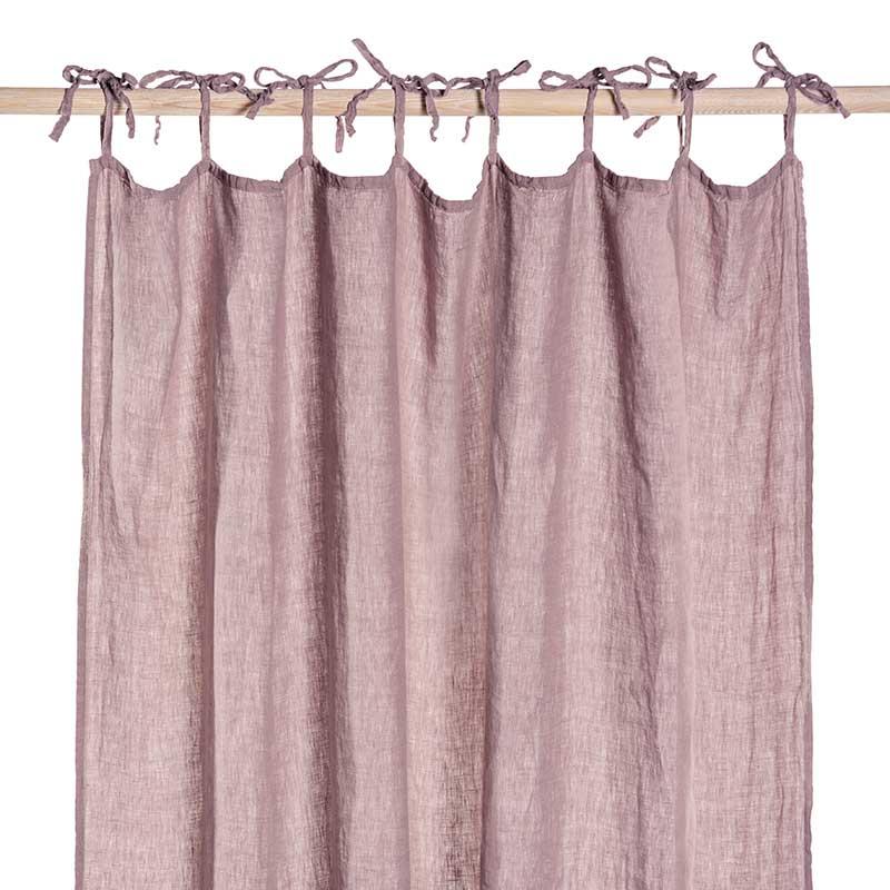 oud roze linnen gordijn