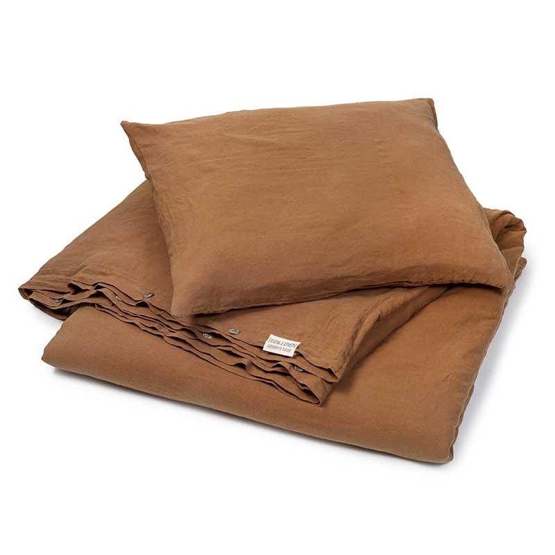 Hazelnut brown linen duvet cover