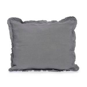 dark grey linen pillowcase with ruffles