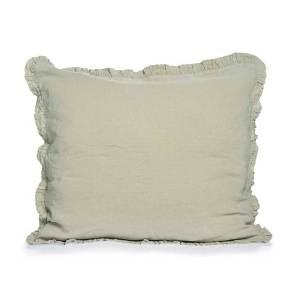 greyed green linen pillowcase with ruffles