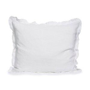White linen pillowcase with ruffles