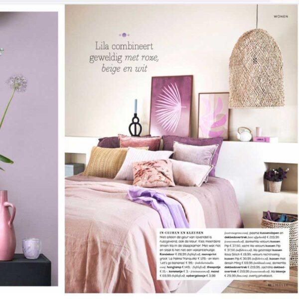 lila linnen beddengoed in het tijdschrift Libelle