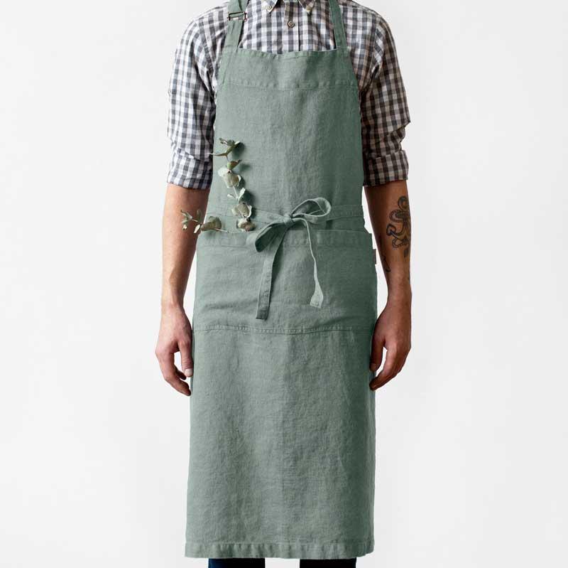 groen luxe linnen schort