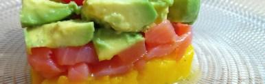 Tortino mango, salmone ed avocado