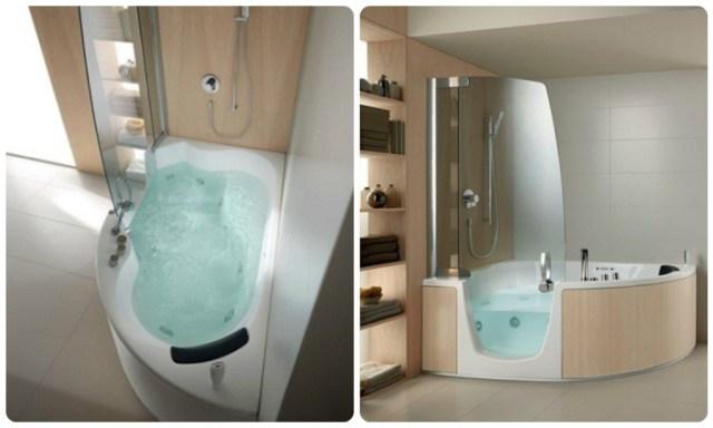 Corner Whirlpool shower - Teuco As funções de banheira e chuveiro são agrupadas. A porta pode ser aberta para dentro, facilitando assim entrada e saída. Para o uso é necessário que o usuário entre e aguarde até que a banheira esteja cheia para iniciar seu banho, e depois é preciso esvaziar a banheira para poder sair. Fonte: http://www.teuco.com/combinations_383