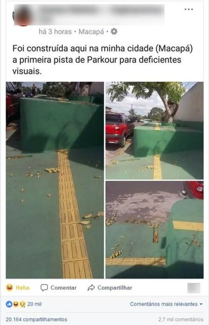 Fotos da calçada repercutiu nas redes sociais (Foto: Reprodução/Facebook)