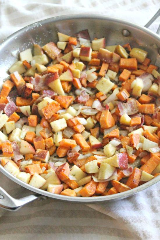 Sweet Potato, Apple and Bacon Hash
