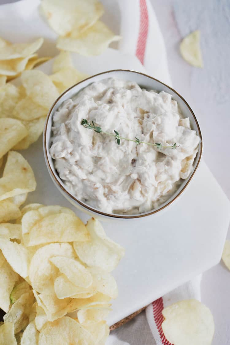 A classic party dip that everyone loves. Lightened up using thick and creamy Greek yogurt, and caramelized onions. Perfect for any get together, with a lot less guilt!