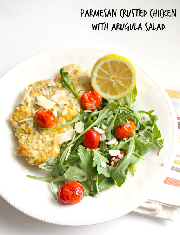 Parmesan Crusted Chicken with Arugula Salad  for #SundaySupper