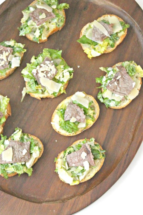 Steak Caesar Salad Crostini