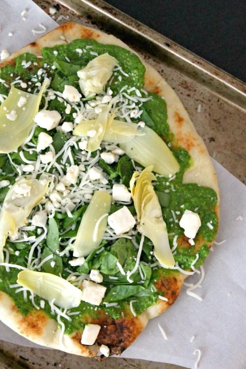 Spinach Artichoke and Pesto Naan and Feta