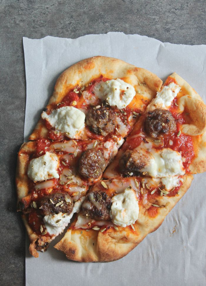 Sausage and Ricotta Naan Pizza