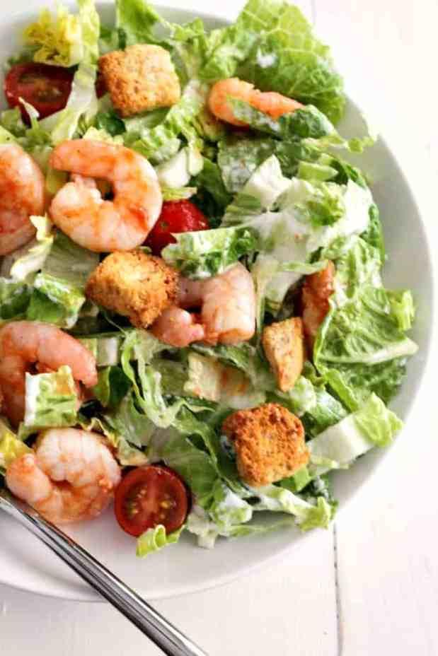 Buffalo Shrimp Caesar Salad - the easiest salad you'll ever make!   casadecrews.com