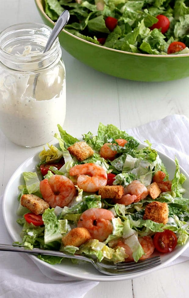 Buffalo Shrimp Caesar Salad - the easiest salad you'll ever make! | casadecrews.com