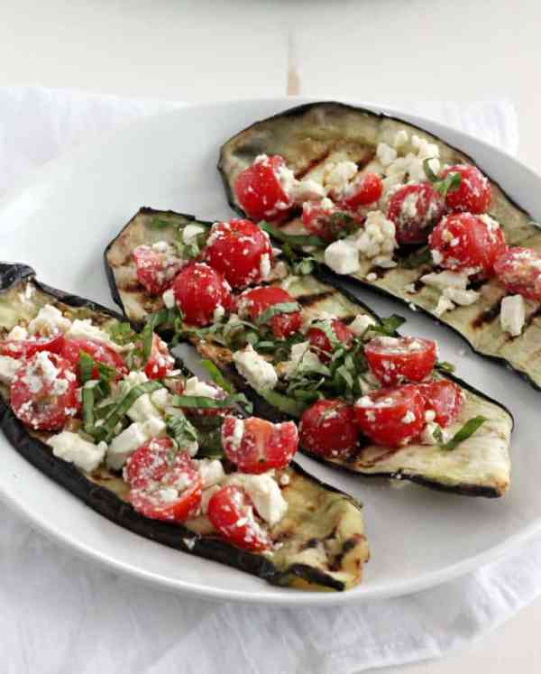 Grilled Eggplant with Tomatoes, Feta, and Basil | casadecrews.com