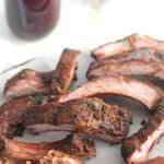 Grilled Ribs with Blueberry Maple BBQ Sauce