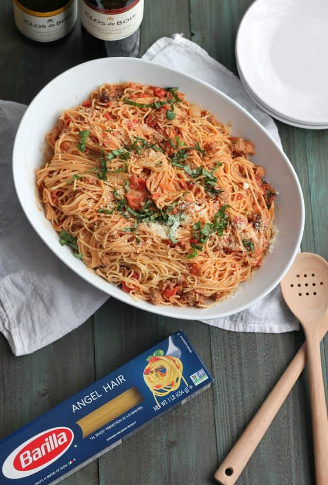 Angel Hair Pasta With Sausage And Tomato Cream Sauce Video Casa