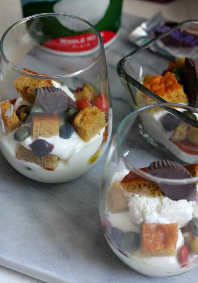 unreal candy parfaits - candy, almond cake, and creamy yogurt! Have your cake, and eat it too | casadecrews.com