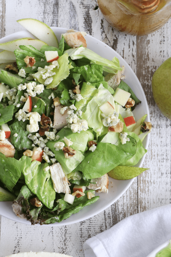 Pear, Apple, and Blue Cheese Chicken Salad