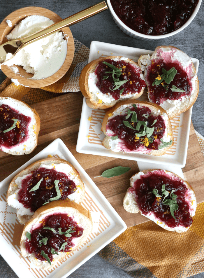 Cranberry-Sage (whipped) Goat-Cheese Crostini