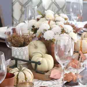 Copper + White Friendsgiving Table [home decor]