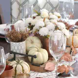Copper + White Friendsgiving Table [home decor]