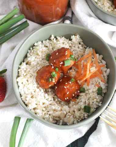 Strawberry Chipotle BBQ Glazed Meatballs