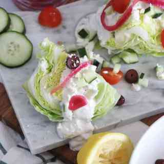 Greek Wedge Salad with a Tzatziki Vinaigrette [low-carb]