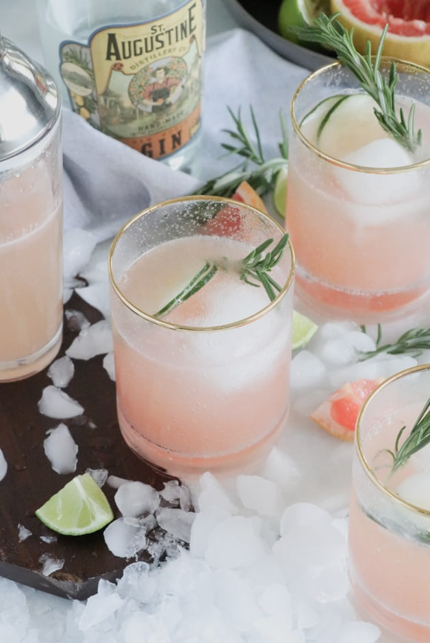 Grapefruit Gin Fizz Cocktail with Rosemary Garnish