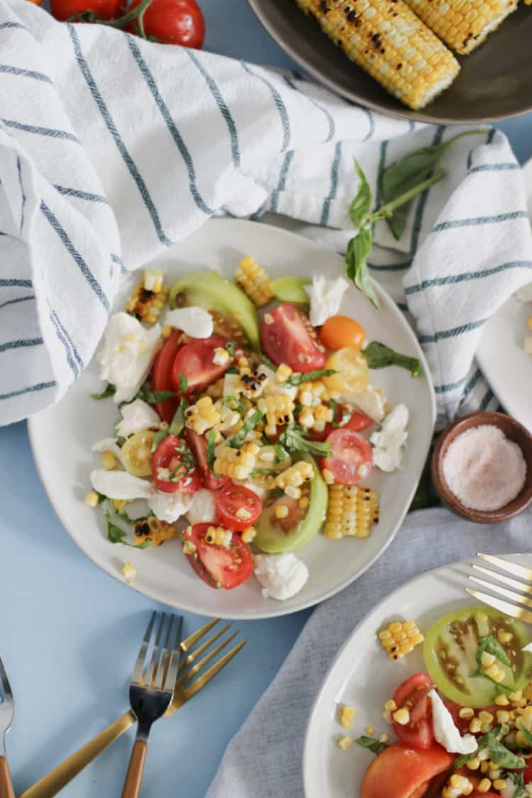 Charred Corn Caprese Salad