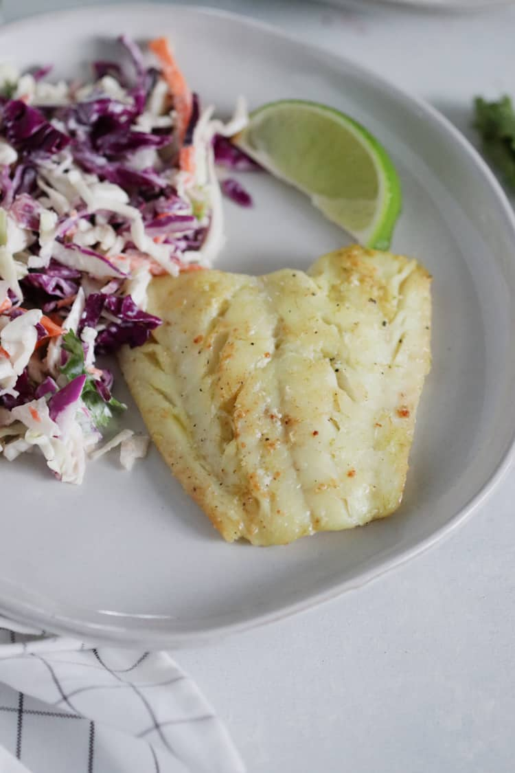 seared cod with a brown butter lime sauce [low carb]