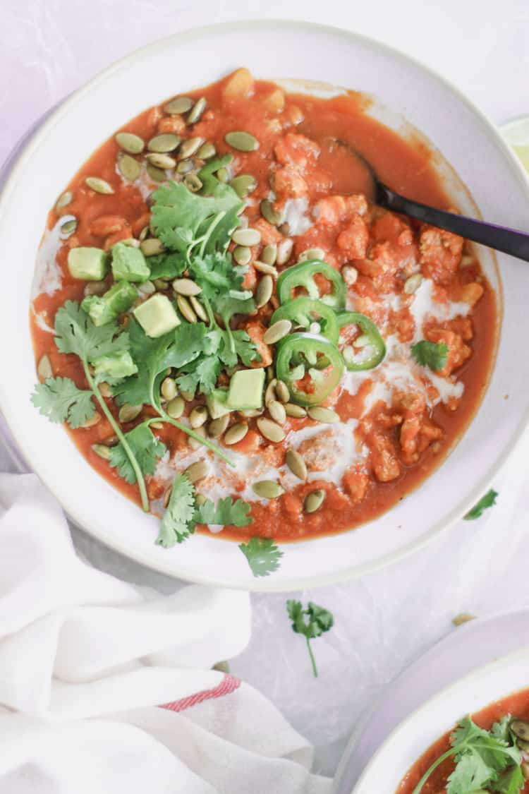 Slow Cooker Paleo Pumpkin Chili with Turkey [whole 30, low carb]
