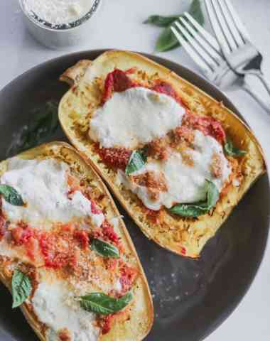 low carb spaghetti squash parmesan boats