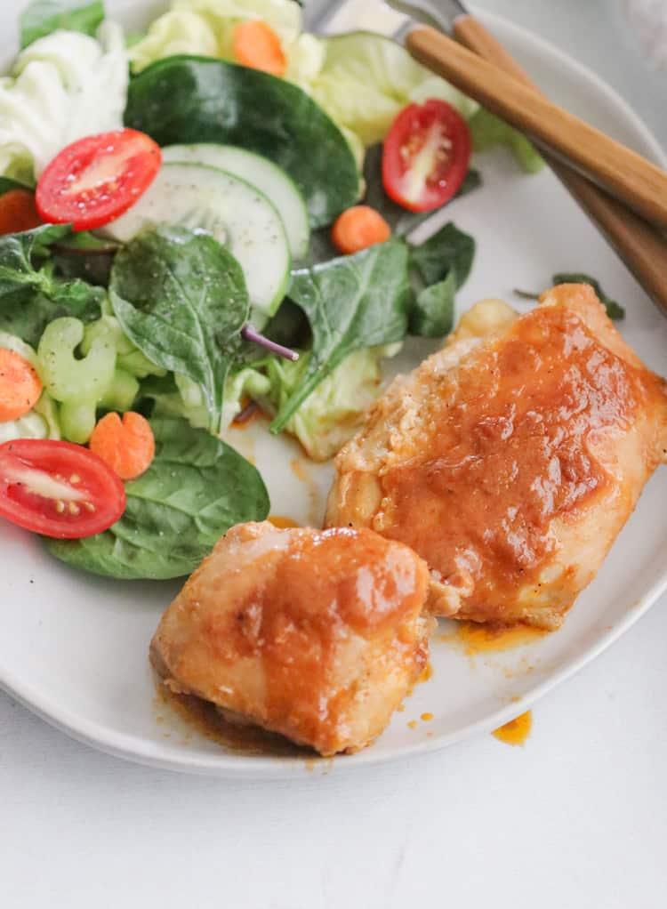 Spicy Honey Mustard Chicken Thighs in the Skillet
