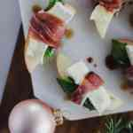 prosciutto wrapped apples with brie and balsamic