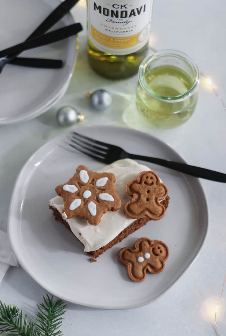 spelt flour gingerbread sheet cake with a maple chai cream cheese frosting