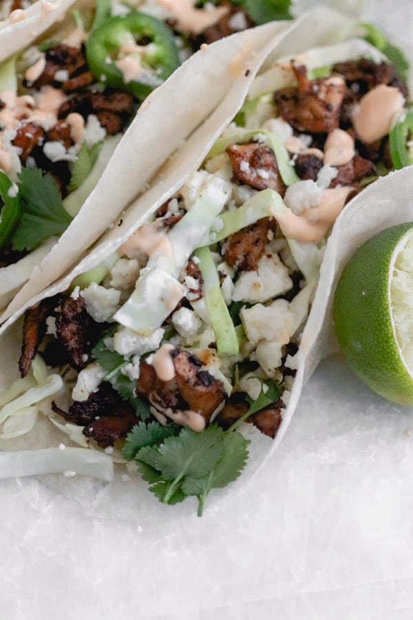 whole30 chicken adobo tacos with chipotle mayo