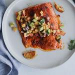 whole30 blackened salmon with peach avocado salsa