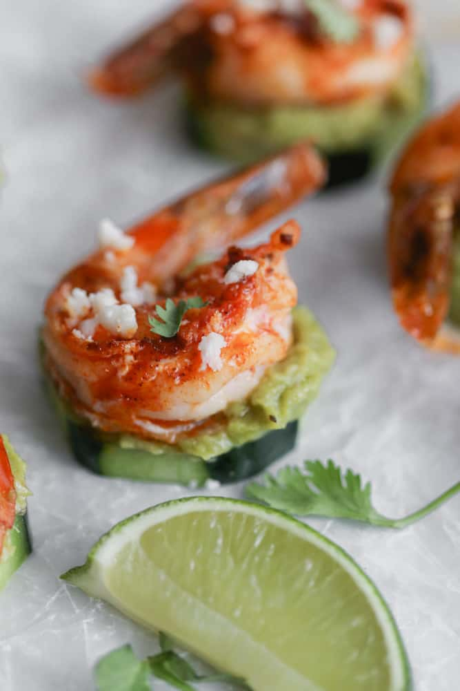 Guacamole and Shrimp Cucumber Bites