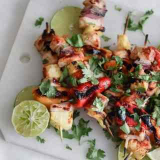 grilled bbq chicken kebabs